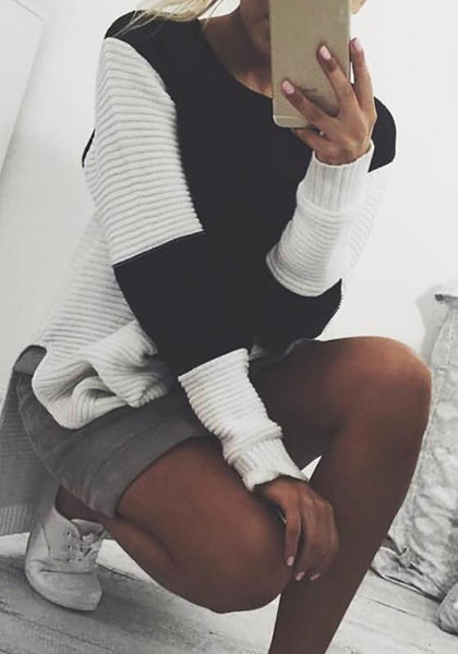 Black Patchwork Irregular Round Neck Long Sleeve Casual Pullover Sweater