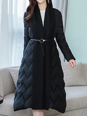 New Black Patchwork Draped Belt V-neck Long Sleeve Elegant Coat