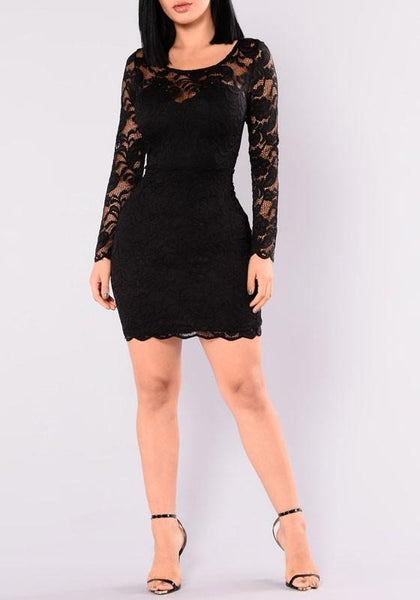Black Floral Lace Wavy Edge Round Neck Long Sleeve Bodycon Party Mini Dress