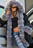 Black Patchwork Irregular Pockets Hooded Long Sleeve Faux Fur Thick Coat