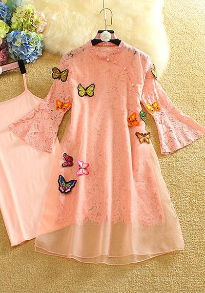 Pink Patchwork Lace Condole Belt Double-deck 2-in-1 Pearl Midi Dress