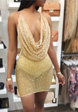 Golden Sequin Sparkly Backless Spaghetti Strap Zipper Choker Neck Clubwear Party Mini Dress