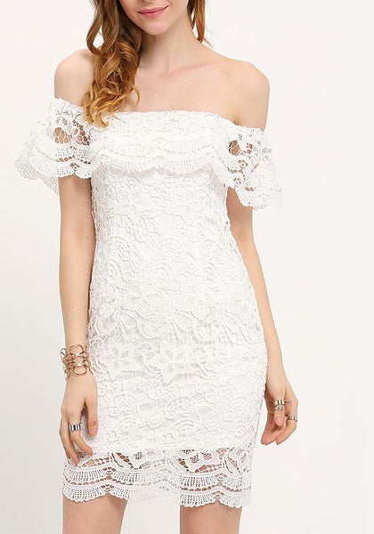 White Floral Lace Ruffle Zipper A-Line Club Mini Dress