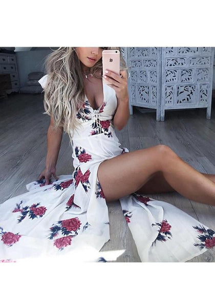 White Floral Drawstring Cut Out V-neck Maxi Dress