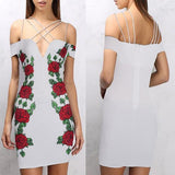 White Flowers Print Zipper Backless Spaghetti Strap Off Shoulder Bodycon Mini Dress