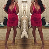Red Plain Condole Belt Cut Out Mini Dress