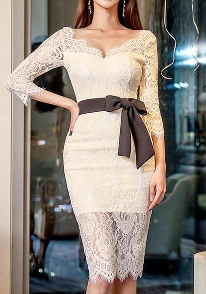 White Patchwork Lace Bow Backless Slit V-neck 3/4 Sleeve Midi Dress