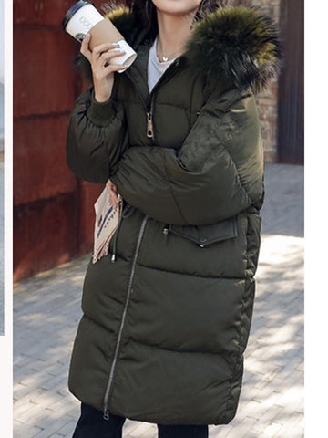 Army Green Fur Pockets Drawstring Hooded Long Sleeve Fashion Coat