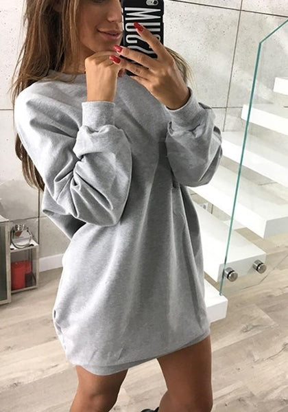 Grey Plain Round Neck Casual Pullover Sweatshirt