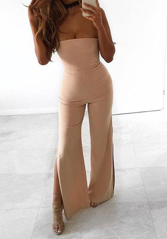 Apricot Bandeau Off Shoulder Backless Side Slit Party Wide Leg Long Jumpsuit