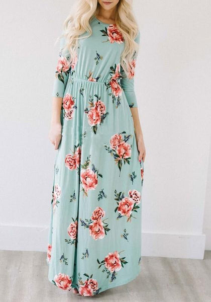 Green Floral Draped Pockets Round Neck 3/4 Sleeve Maxi Dress