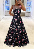 Black Flowers Grenadine Embroidery Pleated Tutu Elegant Party Maxi Dress