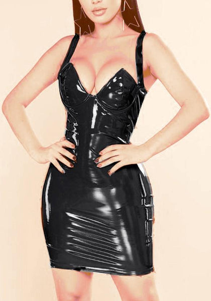 Black PU-Leather Spaghetti Strap Latex Bodycon Clubwear Party Mini Dress