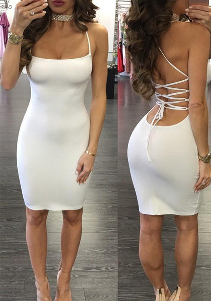 White Tie Back Cross Back Backless Mini Dress