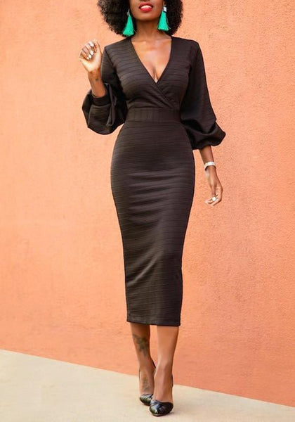 Black Striped Lantern Sleeve Deep V-neck High Waisted Elegant Cocktail Party Midi Dress