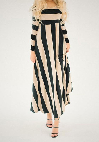Blue-Apricot Striped Print Draped High Waisted Long Sleeve Party Maxi Dress