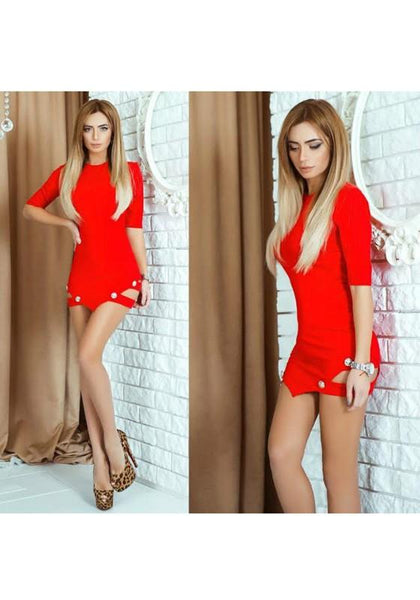 Red Plain Studded Round Neck Short Sleeve Mini Dress
