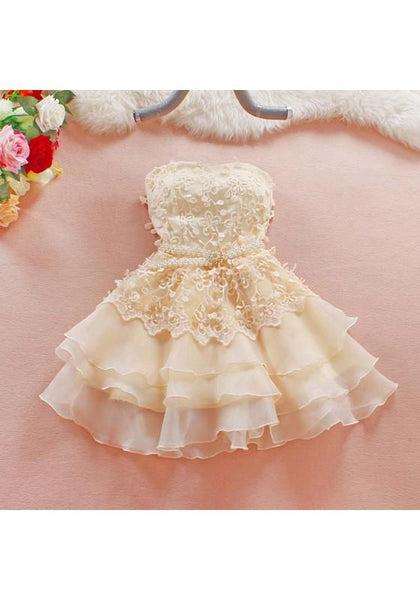 Apricot Patchwork Hollow-out Pearl Tiered Bandeau Belt Mini Dress