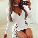 White Cut Out Lace-up V-neck Halter Neck Long Sleeve Club Homecoming Mini Dress