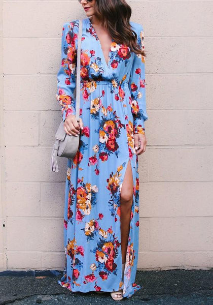Lake Blue Floral Cut Out V-neck Long Sleeve Maxi Dress