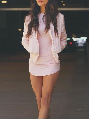 New Pink Irregular Bodycon Long Sleeve Casual Mini Dress