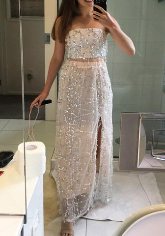 Apricot Patchwork Tassel Sequin Bandeau Two Piece Off Shoulder Side Slit Sleeveless Maxi Dress