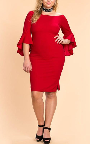 Red Ruffle Zipper Off Shoulder Bodycon Plus Size Party Midi Dress