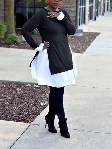 Black Patchwork Pleated Peplum Long Sleeve Round Neck Casual Mini Dress