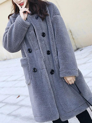 New Grey Fur Pockets Double Breasted Band Collar Long Sleeve Casual Coat