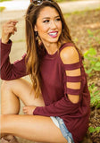 Burgundy Cut Out Sleeve Round Neck Long Sleeve Fashion T-Shirt
