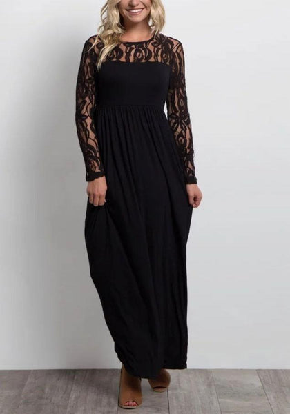 Black Lace Cut Out Draped Banquet Elegant New Year Eve Party Maxi Dress