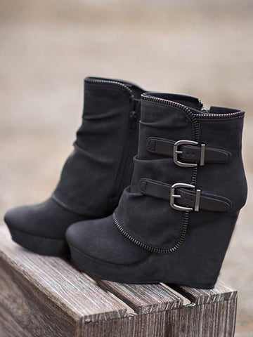New Black Round Toe Wedges Metal Decoration Buckle Fashion Ankle Boots