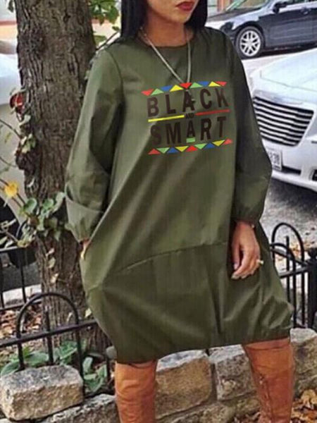 "New Army Green ""BLACK SMART"" Letter Print Round Neck Long Sleeve Fashion Midi Dress"
