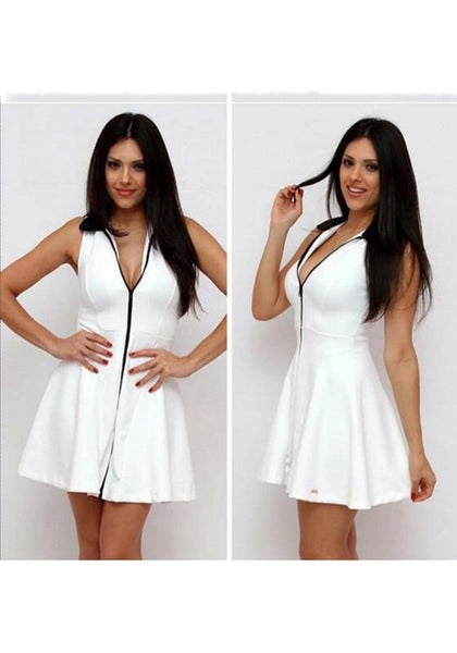 White Plain Zipper Pleated Deep V Sleeveless Mini Dress