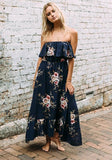 Black Floral Ruffle Bandeau Sleeveless Fashion Maxi Dress