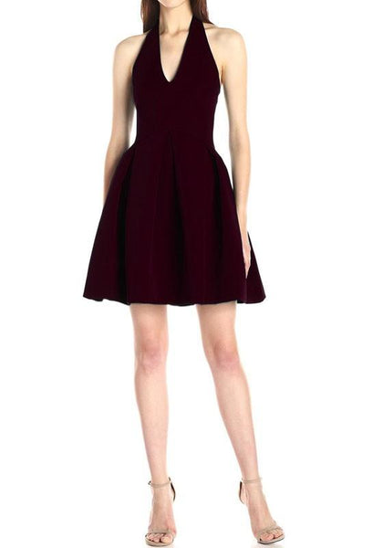 Burgundy Pleated Cut Out Halter Neck Open Back Mini Dress