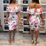 White Floral Bandeau Ruffle Zipper Backless Off Shoulder Party Bodycon Mini Dress