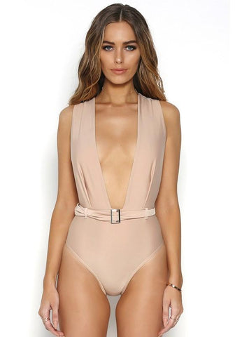 Apricot Belt Backless Plunging Neckline Bodycon Swimwear