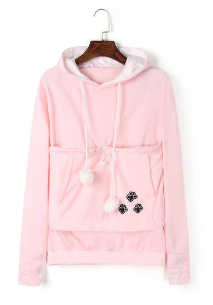 Pink Cat Lovers Hoodies Cuddle Pouch Dog Pet Kangaroo Pullovers Ears Sweatshirt