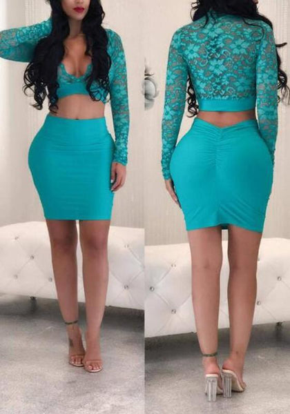 Blue Floral Lace Deep V-neck Long Sleeve Two Piece Bodycon Party Mini Dress