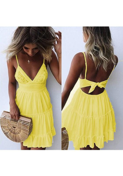 Yellow Patchwork Tie Back Cut Out Pleated V-neck Mini Dress