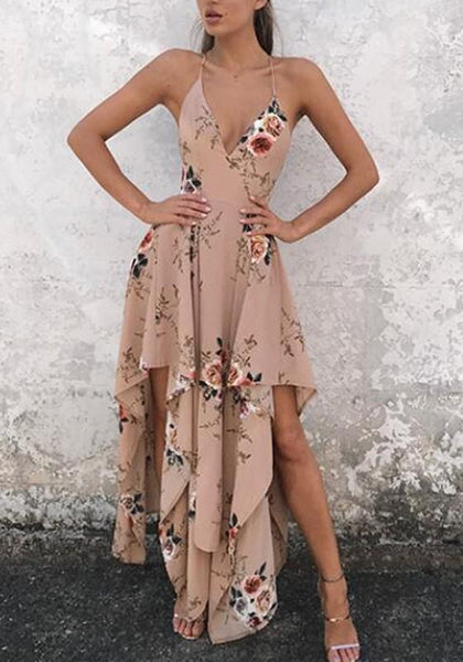 Khaki Floral Irregular Cross Back Condole Beltl Zipper Maxi Dress