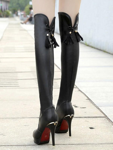 New Black Round Toe Stiletto Fashion Over-The-Knee Boots