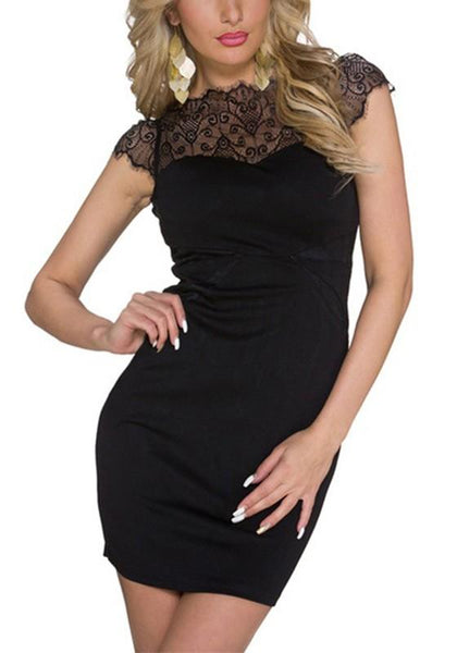 Black Patchwork Lace Zipper Round Neck Mini Dress