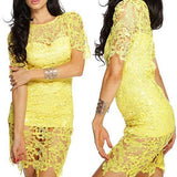 Yellow Plain Hollow-out Round Neck Lace Mini Dress