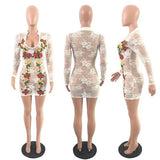 White Floral Lace Embroidery Round Neck Long Sleeve Clubwear Party Mini Dress