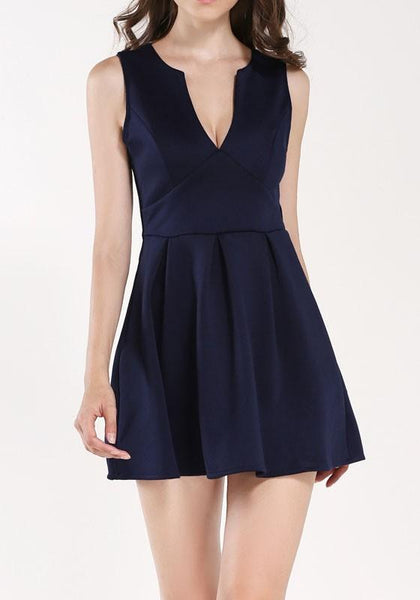 Navy Blue Pleated Side Pull Deep V-neck Sleeveless Mini Dress