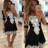 Black Patchwork Print Lace Draped Round Neck Mini Dress