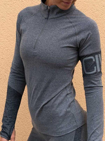 New Grey Zipper V-neck Long Sleeve Fashion T-Shirt