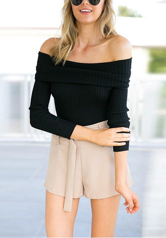 New Black Bandeau Backless Off Shoulder Long Sleeve Club T-Shirt